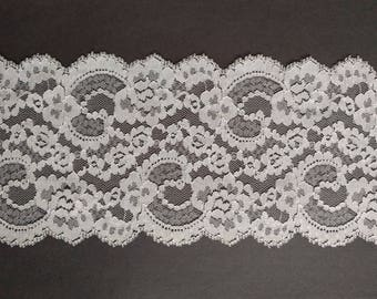 Vintage 5 inch wide white floral abstract lace trim- by the yard