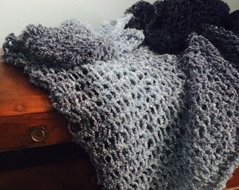 Blue Large Knit Scarf
