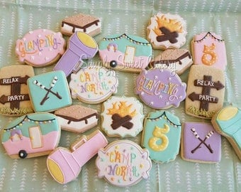 24 Camping themed cookies