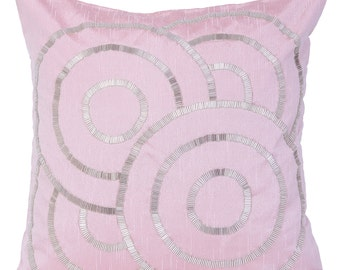 Powder Pink Decorative Pillow Cover Pink Geometrical Pillow Cover Pink Silver Accent Pillow14x14 16x16 18x18 20x20