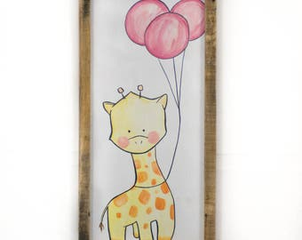 Giraffe painting Nursery decor Baby shower Gift Baby nursery art Nursery wall art Baby girl gift Baby girl nursery Child decor Giraffe art