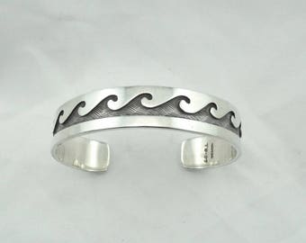 Catch A Wave And You're Sitting On Top Of The World...Solid Sterling Silver Wave Cuff Bracelet  #WAVE-CF6