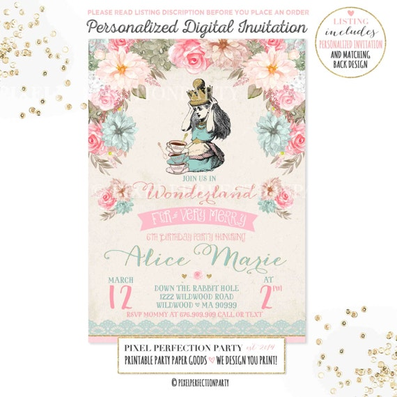 alice in wonderland invitation vintage alice in wonderland, Invitation templates