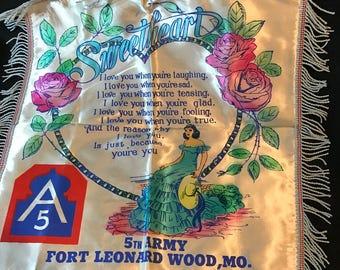World War 2, 5th Army, Fort Leonard Wood, Mo.,  Souvenir Sweetheart Pillowcase, Sham