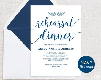 Navy Blue Rehearsal Dinner Invitation, Rehearsal Dinner Card Template,  INSTANT DOWNLOAD, Editable Text  Dinner Card Template
