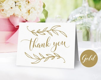 Gold Thank You Card, Vintage Wedding Printable Thank You Card, Wedding Thank You Card - Instant DOWNLOAD - 4.25x5.5 inches, VW01GOLD