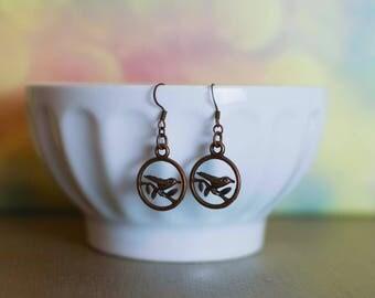 Bird Earrings, Bird Jewelry, Bird Lover Earrings, Copper Jewelry, Dangle Earrings, Bird Lover