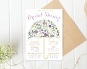 Bridal Shower Invitation, Umbrella Bridal Shower Invite, Pretty Bridal Shower Invite, Printable Bridal Shower Invite, Floral Shower [216]