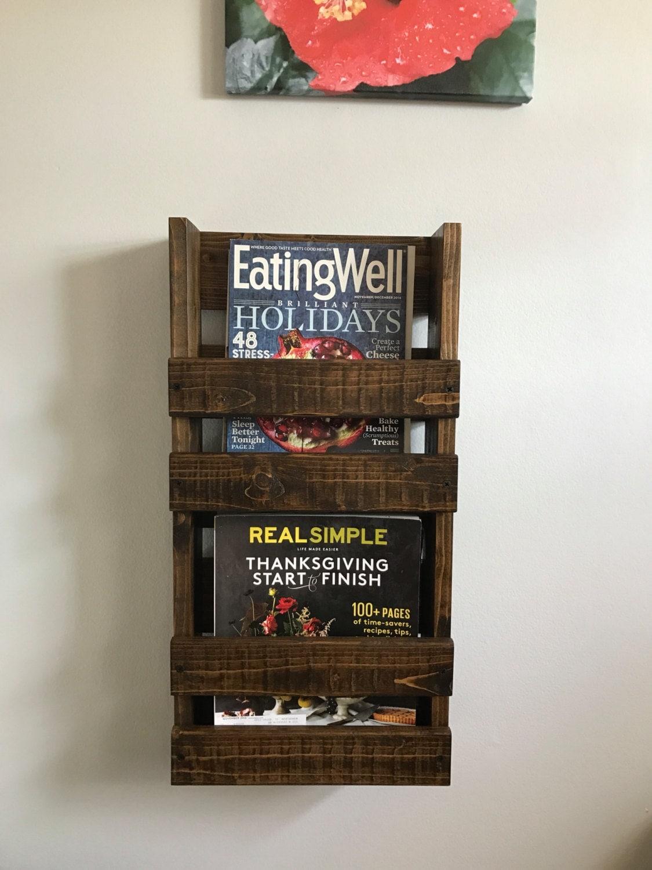 rustic magazine rack with 2 shelves magazine rack wood magazine rack wall mounted