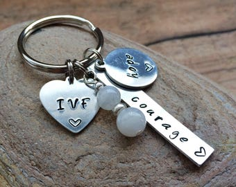 IVF Keychain. Courage & Hope Keychain. IVF Gift. Moonstone Fertility Gift. Fertility Keychain.  IVF Journey. Gifts for her.