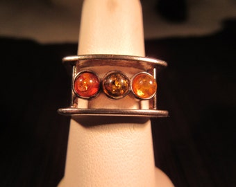 Modernist Sterling Silver Amber Ring - 7.5