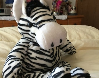 Vintage Large Soft Plush Zippy Zebra Stuffed Animal in Excellent Condition