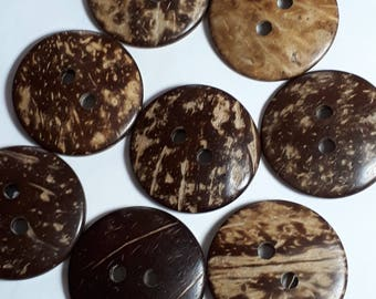 4pcs Coconut Buttons - Coconut Shell Buttons - 35mm Buttons - Sewing Buttons - 2 Hole Buttons - Extra Large Button - Brown Buttons - B13837