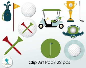 Golf Digital Scrapbooking Clip Art, Buy 2 Get 1 FREE. Instant Download