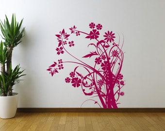 Flowers V1, Floral Sticker, Handmade Sticker, Wall Sticker, Interior Sticker,  Window Sticker, Car Sticker, Wall Decal. Wall Decor