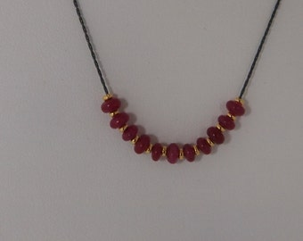 Oxidized Sterling Silver Chain Necklace (Black) With Gold Vermeil (Gold Over Sterling Silver) and Red Jade
