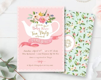 Tea Party - High Tea baby shower invitation - gold blush - Shabby Chic - Floral invitation  - printable - DIY - Digital