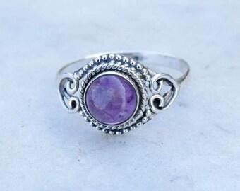 Amethyst Ring, Stone Ring,Amethyst Silver Ring,Silver Ring, Amethyst  Ring, Sterling Silver Ring, Amethyst,Size US 3 4 5 6 7 8 9 10 11 12