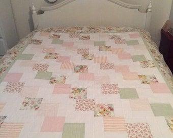 Quilt, Tumbling Blocks Patter Quilt, Pastel Quilt, Hand made Quilt, 100% Cotton Quilt