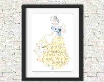 Snow White Disney Inspired Personalised Word Art Print Bespoke Keepsake Gift A4 21x30cm Free UK Postage