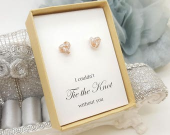 Bridesmaid Tie the Knot Earrings with Cubic Zirconia message Gift box