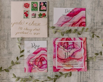 Pink Watercolor Floral Wedding Invitation Suite | Square Wedding Invites | Printable Design or Professionally Printed
