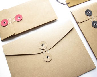 String & Button Kraft Envelopes 。Brown Kraft Envelope 。 Kraft Paper Pocket 。 Portfolio Folder 。 String and Tie Pocket Folder