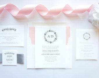 Wreath Wedding Invitations, Rustic Wedding Invitation, Pink and Gray, Color Customize - SAMPLE SET