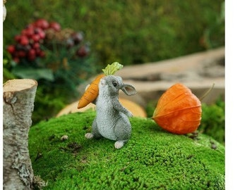 Fairy Garden  - Rabbit Holding Carrot - Miniature