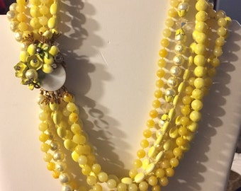 1950's 7 strand Bead necklace lemon yellow