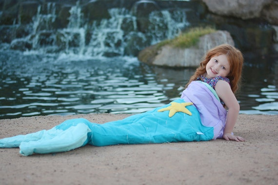 Quilted & Embroiderd Mermaid Tail Sleeping Bag Blanket Sack Nap Mat Pocket Fleece Lining Easter Birthday