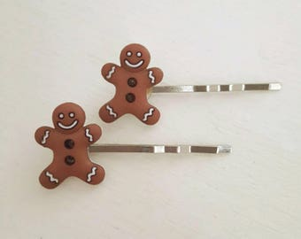 Christmas hairpins, gingerbread men hairpins, Christmas bobby pins, Christmas hair grips, gingerbread men hairgrips, gingerbread accessories