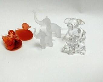 Vintage glass animal figurines