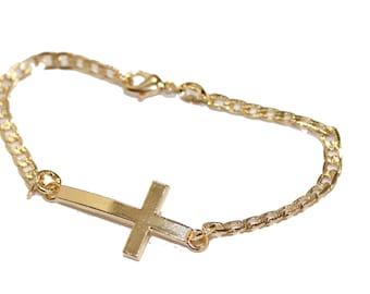 Side Cross Bracelet 7.5 inch  18k Gold Plated Bracelet - Side Cross Bracelet