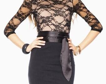 Combined black - beige dress Women dress Elegant dress short sleeves lace  Occasion dress knees Office Women's clothing