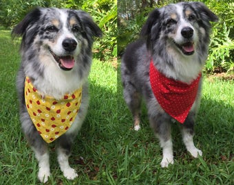 Dog Reversible Bandana Ladybugs with red and white polka dots