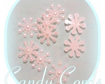 100 Super pretty pearlescent snowflake acrylic flatbacks 15mm cabachons cabs cabochons decoden card making snowflakes hair bow