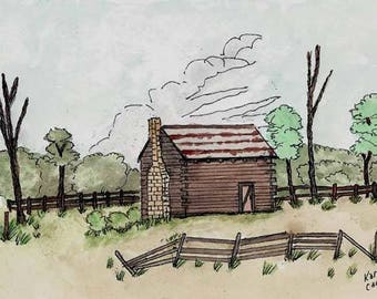 Original Pen and Ink Drawing with Watercolor Wash / Log Cabin With Rusty Metal Roof / Peaceful Scene / Zen Art