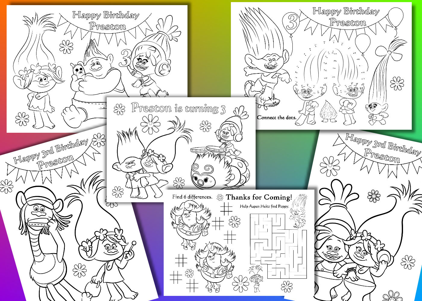 Troll da colorare pagine trolls birthday party favor file - Spiaggia stampabile da colorare pagine da colorare ...