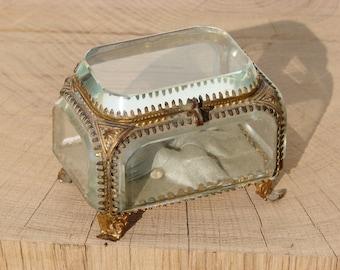 Antique french jewelry box glass jewellery box