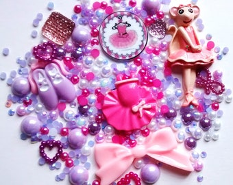 Sale angelina Ballerina ballet dancer decoden set - kawaii - bow - phone case - hair accessories - scrapbooking - cabochons - craft supplies