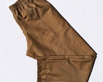 Chinos - Work Trousers - Work Pants - Brown Pants - Elastic Waist Pants - Mid Rise Pants - Tan Pants - Sturdy Pants - Cotton Twill Pants