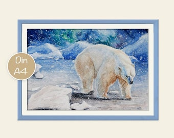 Print polar bear in the snow