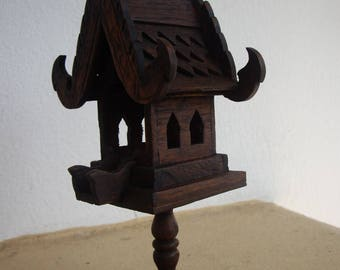 Thai Handmade Mini Spirit-house Teak Wood Decoration Garden 4 x 4 x 8.5 inches