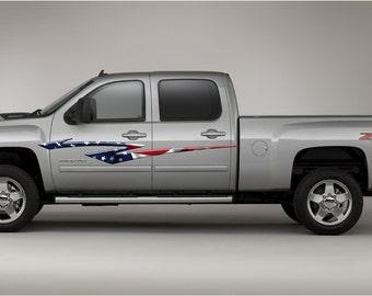 American Flag Stripes Car & Truck Side Decals #b985