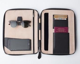 LEATHER TRAVEL WALLET (large) (black) Mod iPad Pro 9.7 Padfolio Air folio passport holder document organiser organizer portfolio cover real