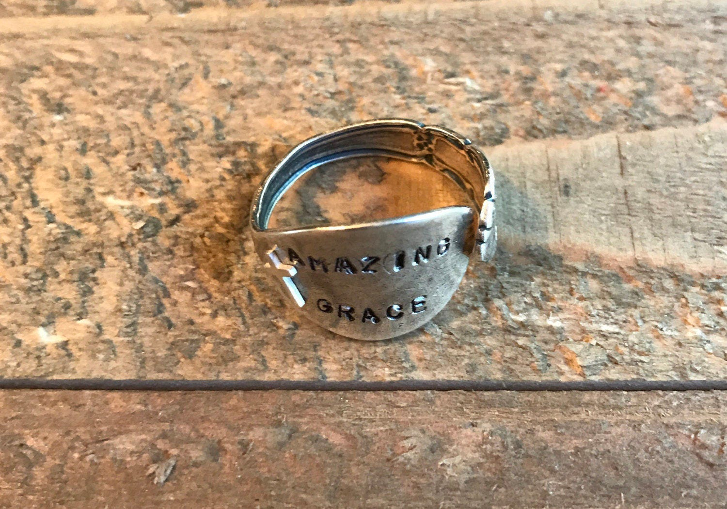 Amazing grace stamped spoon rings scriptures brides wedding