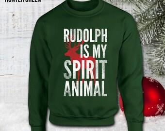 Rudolph Is My Spirit Animal Christmas Sweatshirt - Ugly Christmas Sweater, Christmas Gifts,Christmas Jumper 2016,xmas gift,not Hoodie CT-914
