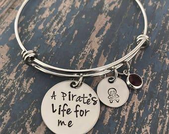 A Pirate's Life for Me Skull Crossbones Swarovski Crystal Birthstone Silver Stainless Bangle Bracelet