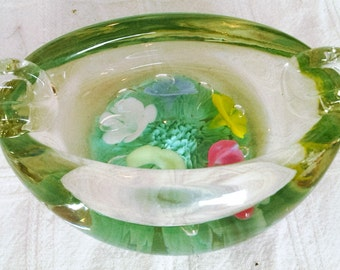 Vintage Hand Blown St Clair Glass Ashtray Paperweight Made In Elwood Indiana